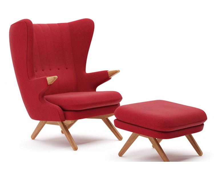 Bamse lænestol og fodskammel designet af Svend Skipper