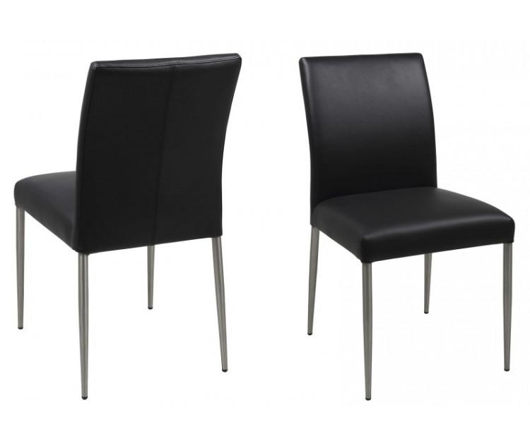 Cool Miro spisestol med sort læder WZ62
