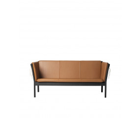 J149 Erik Ole Jørgensen 3 pers sofa, sort eg cognac læder