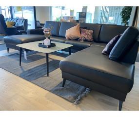 U-sofa med open end,læder