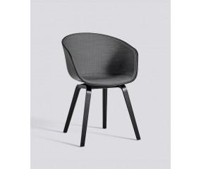 HAY About a Chair 22 forsidepolstret sort stel, grå polster