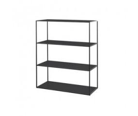 By Lassen Twin Bookcase, sort stel, sort/hvid hylder