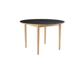 C62E Bjørk rundt spisebord m udtræk eg sort linoleum