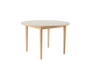 C62E Bjørk rundt spisebord m udtræk eg lysegrå linoleum