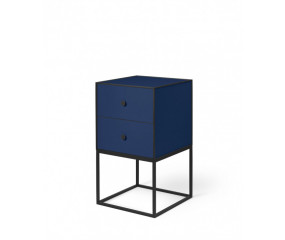 By Lassen Frame 35, sidebord med to skuffer, mørke blå