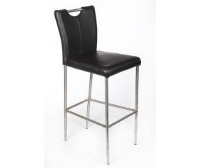 Grip barstol monteret med sort læder