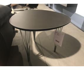 Balder bord med sort linoleum og trådben.