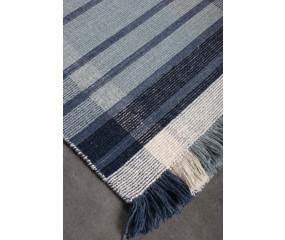 Kreta tæppe, håndvævet 100% uld Ivory/blå