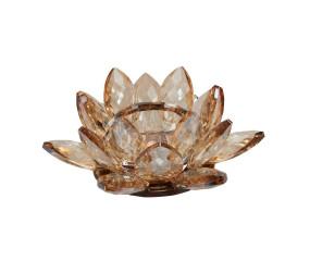 Margit Brandt Lotus crystal fyrfadstage, amber