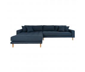Lykke chaiselong sofa med 4 puder, blå stof