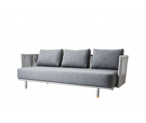 Cane-Line Moments 3-pers. sofa, inkl. grey hyndesæt