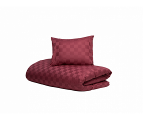 Hästens sengetøj Satin Check Red Plum
