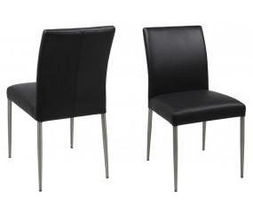 Miro spisestol med sort læder